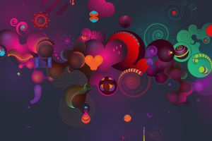 3D Abstract Hearts Wide