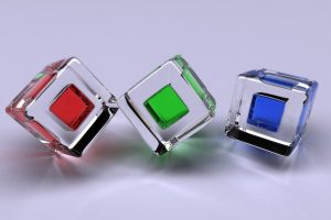 3D Cubes Glass Colored