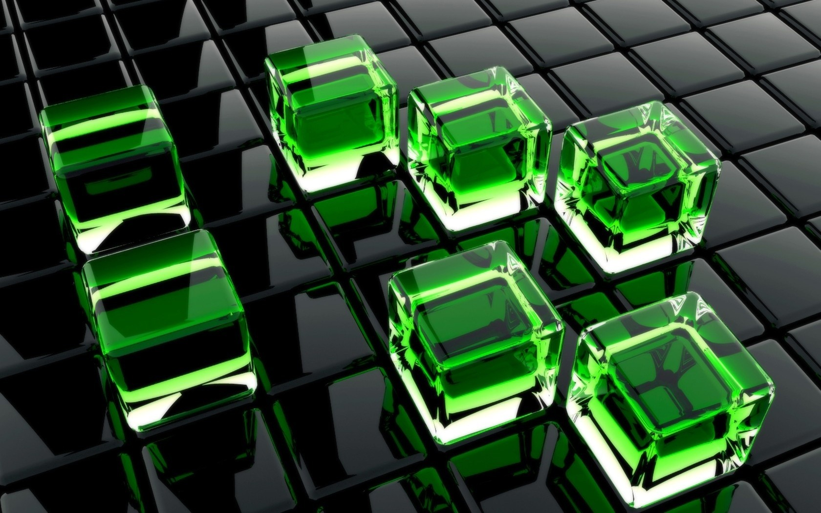 3D Green Cubes Wide