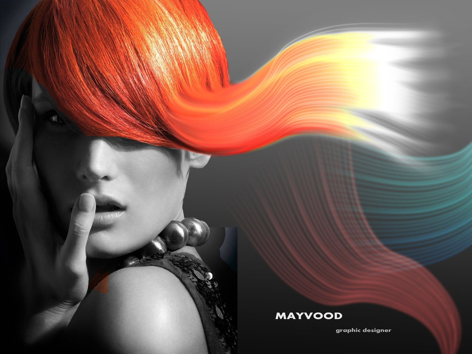 Abstract Fashion Red Headed Girl Glamour Fashion Portrait