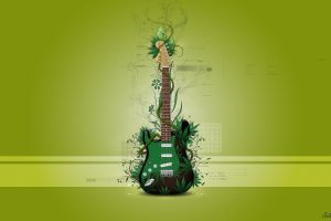 Abstract Green Guitar Wide