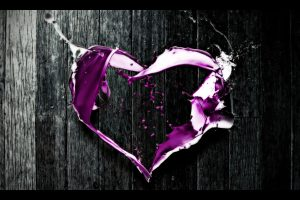 Abstract Purple Heart Wide