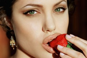 Angelina Jolie Eating Strawberry