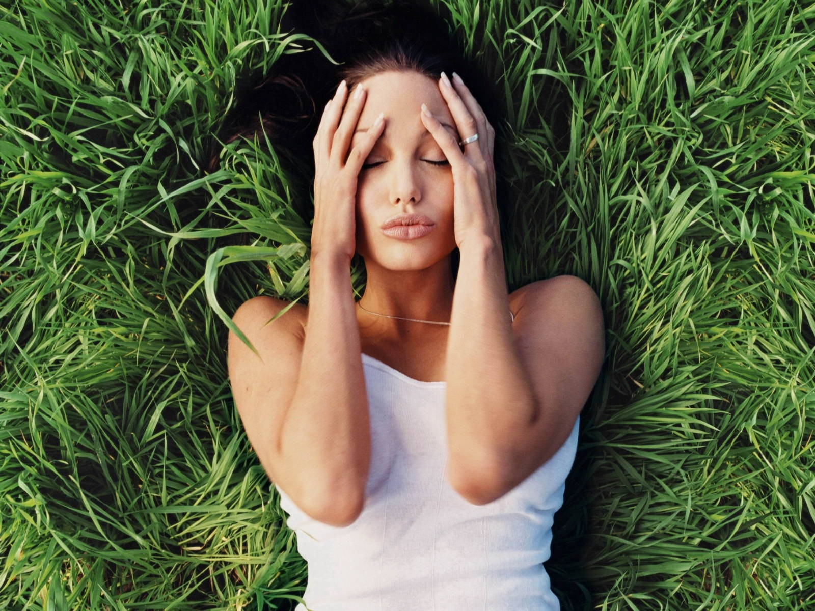 Angelina Jolie On Beautiful Green Grass