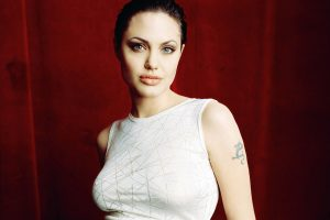 Angelina Jolie Red Background