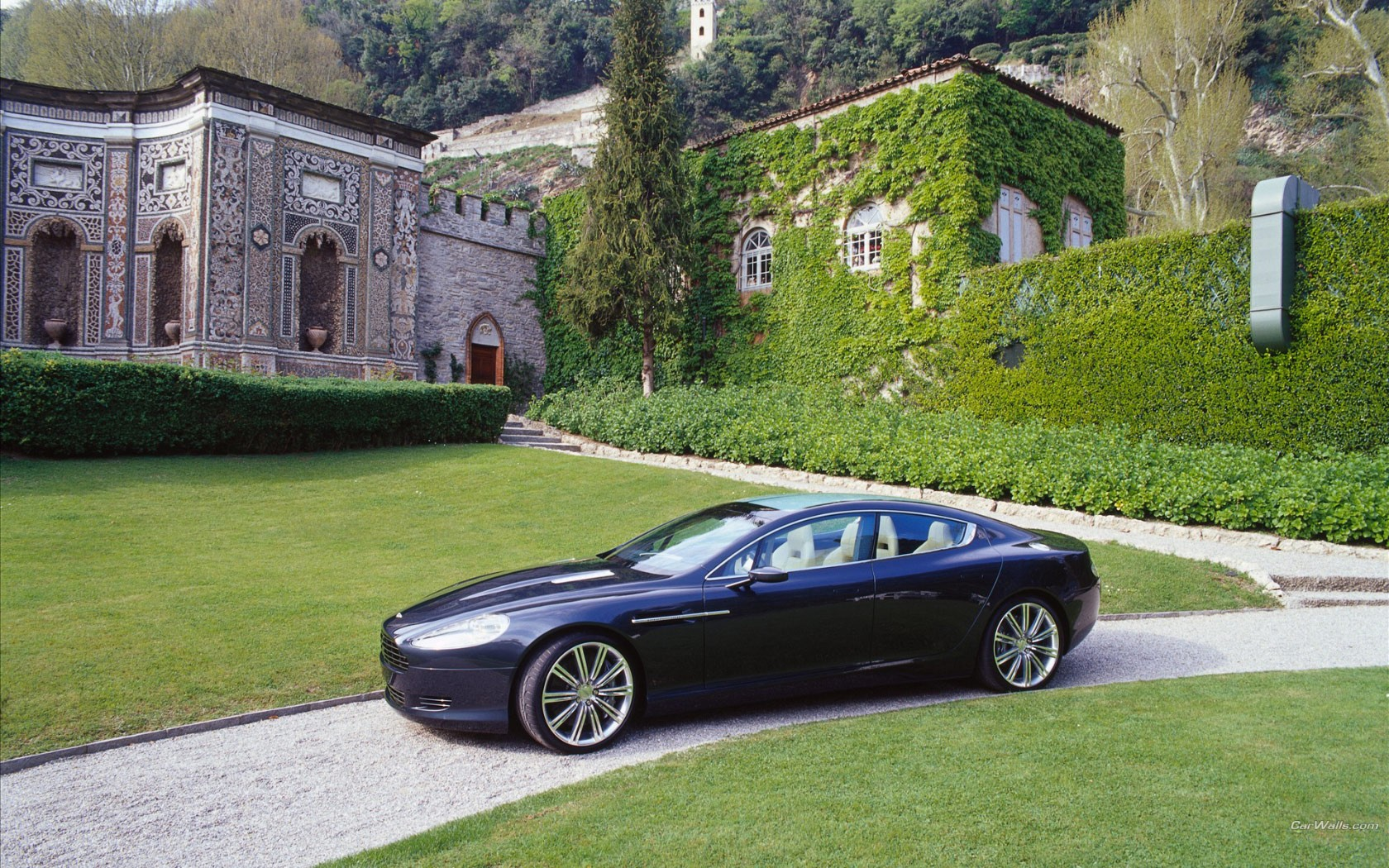 Aston Martin Rapide In Front Of Castle Wide
