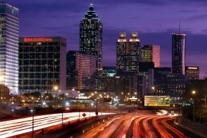 Atlanta,Georgia,downtown skyline,dusk,traffic