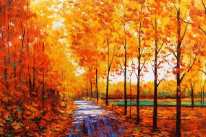 Autumn Forest Oil Painting Wide