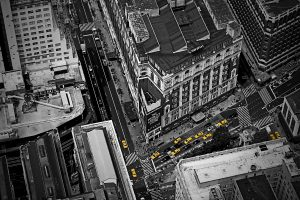 Black And White With Yellow Cab Wide