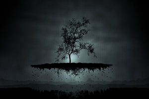 Black Tree On Piece Of Land Flying