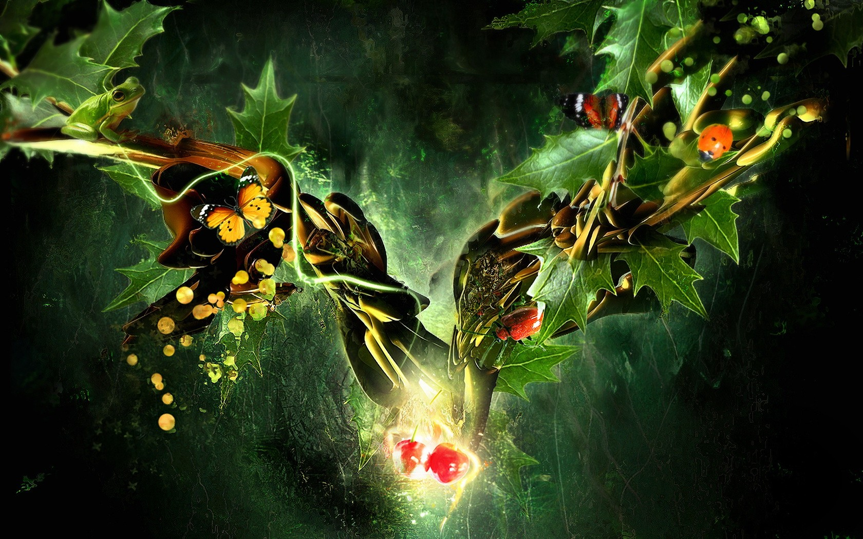 Butterfly Ladybug And Frog In Fantasy World Wide
