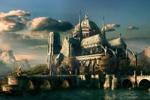 Castle In The World Of Fantasy Wide