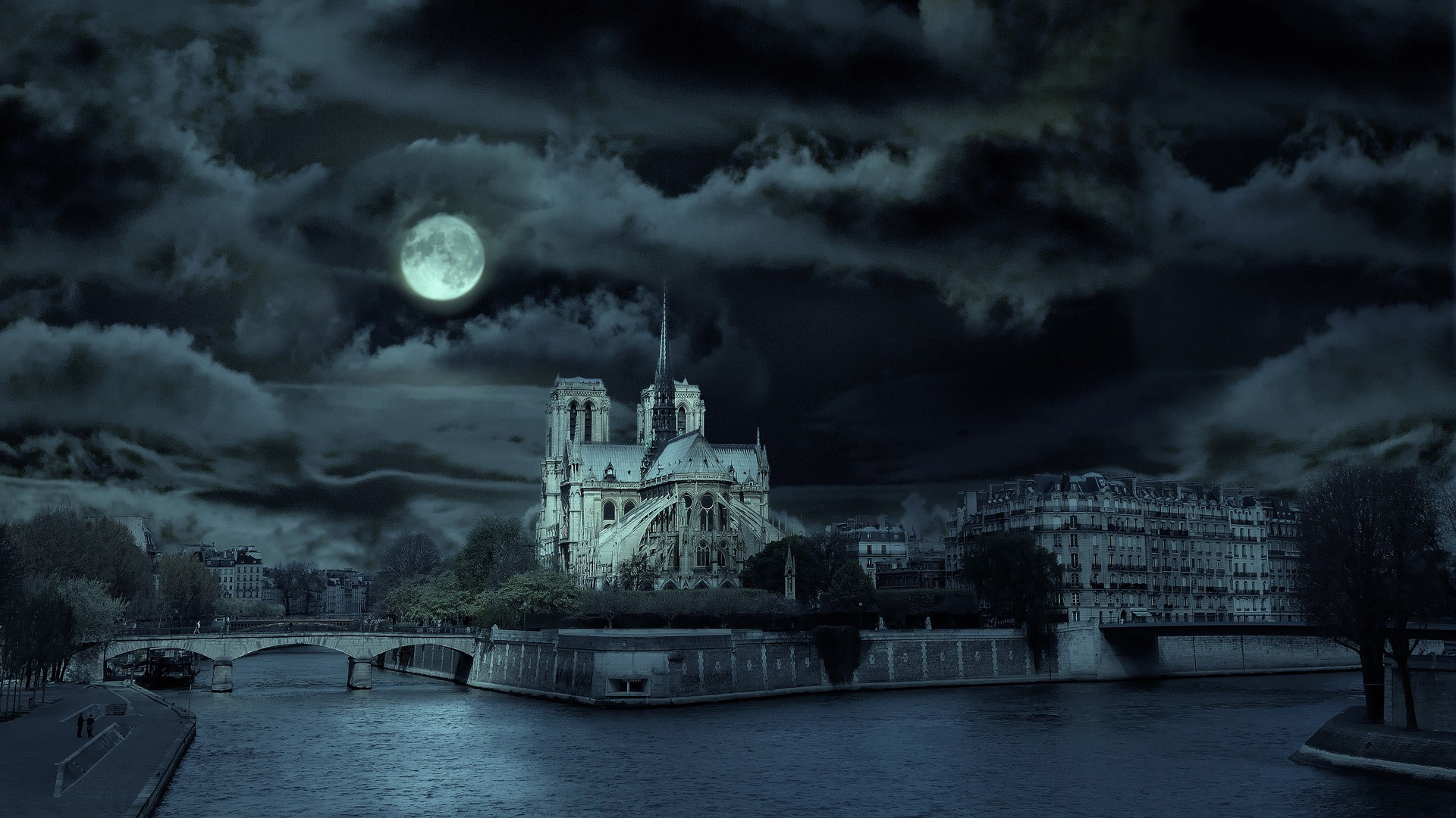 Cathedral Under Moon Light