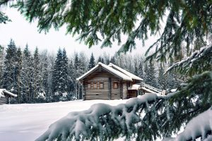 Chalet Covered With Snow Wide