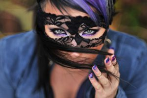 Cute Brunette With Mask Wide