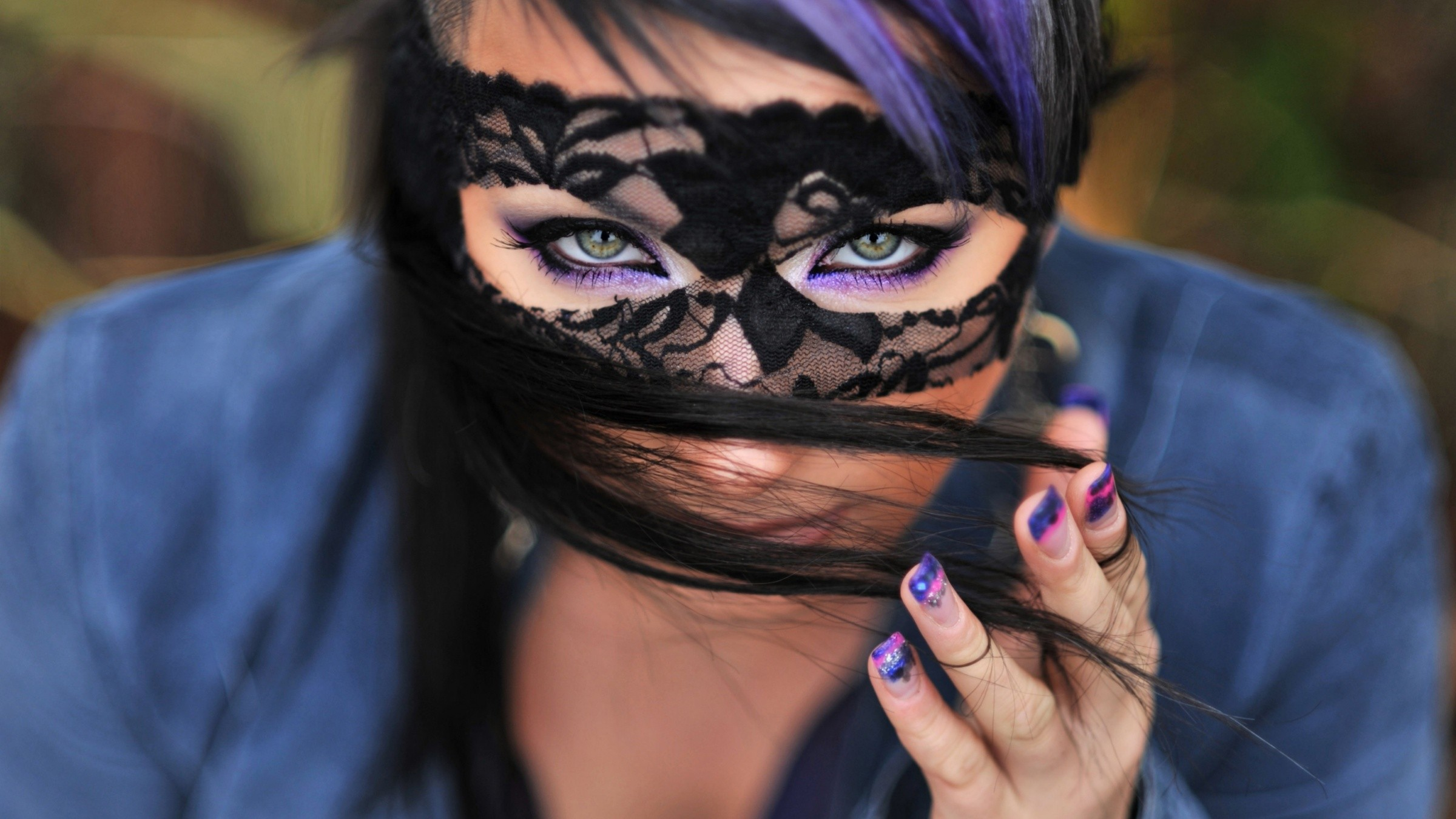 Cute Brunette With Mask