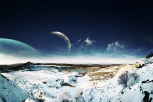 Dreamy Sky Snow Landscape Wide