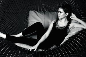 Emma Watson On Sofa Black And White Wide