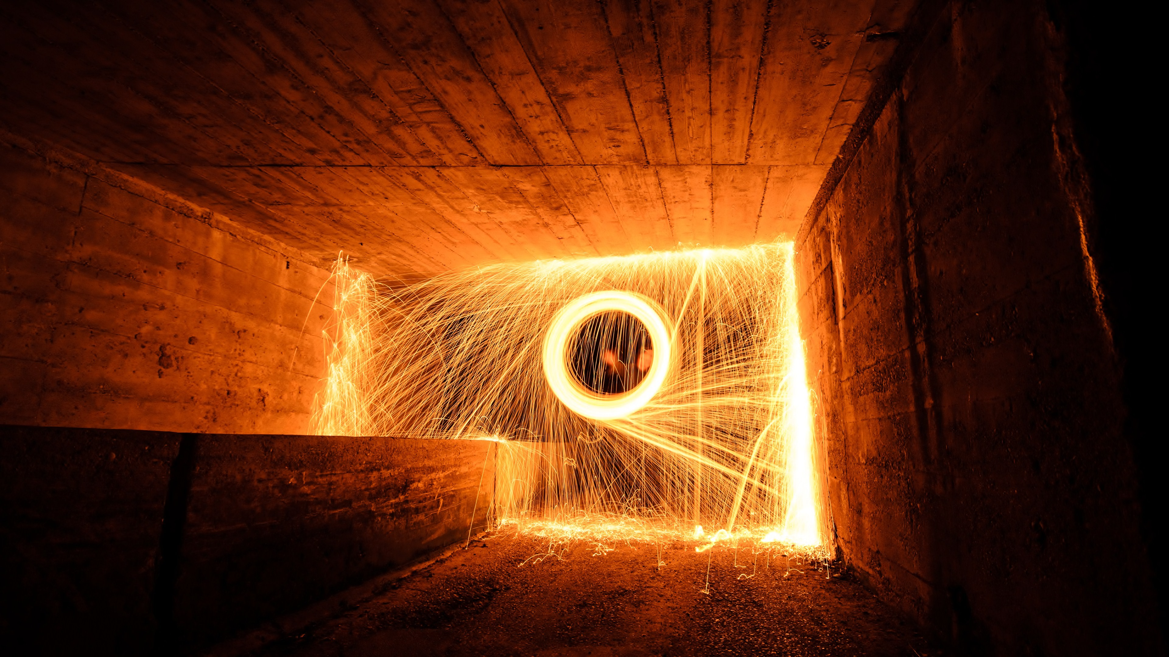 Fireworks In A Wooden Tunnel