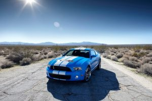 Ford Mustang Shelby Gt500 Blue White On Road Wide