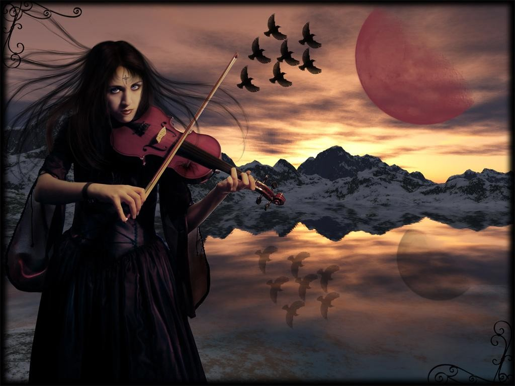 Goth Violin Under Red Moon