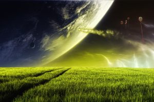 Green Grass On Alien Planet Wide