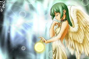 Green Hair Angel Wide