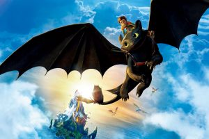 Hiccup Riding Toothless Wide