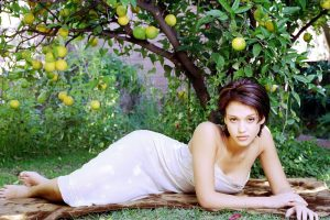 Jessica Alba Below Orange Tree Wide