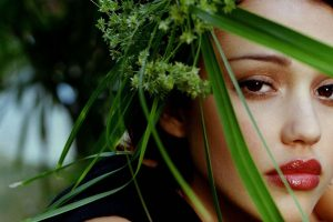Jessica Alba Green Plants Over Her Face