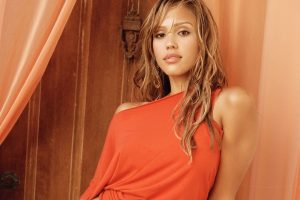 Jessica Alba In Red T Shirt Home