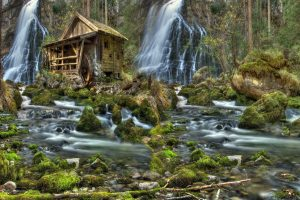 Mill In The Woods Under A Waterfall Wide