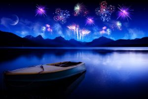 New Years Fireworks From Boat Wide