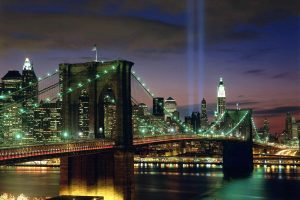 New York City Bridge In Light