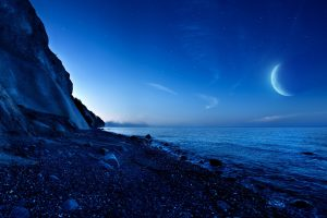 Nightfall Mountain Sea Moon Wide