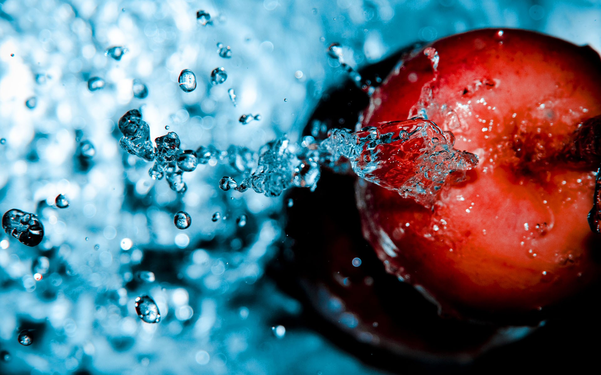 Red Apple In Water Wide