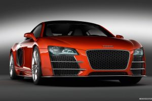 Red Audi R8 Tdi Le Mans Front View Wide