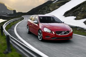 Red Volvo V60 R Design On Road