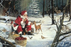 Santa And Bambi Postcard