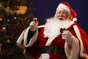 Santa Claus With Cookie Wide