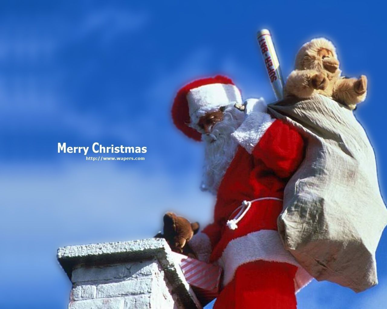Santa Putting Gifts In Chimney