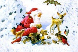 Santa With Animals Postcard