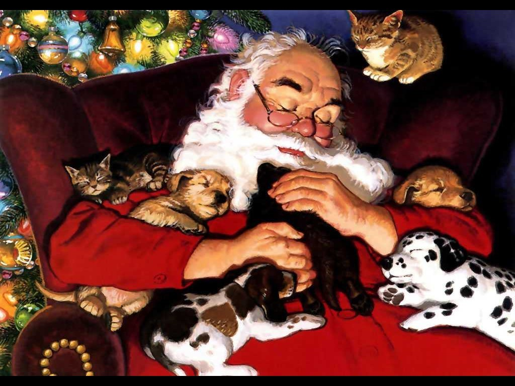 Santa With Cats And Dogs Sleeping