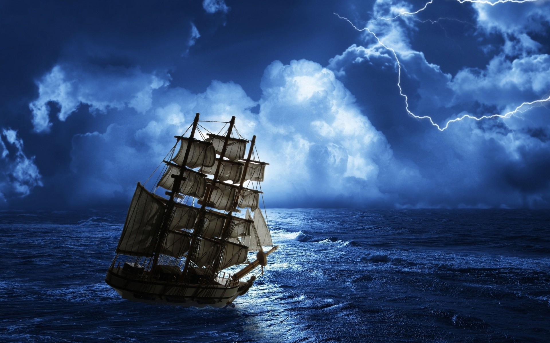 Ship In A Storm Wide