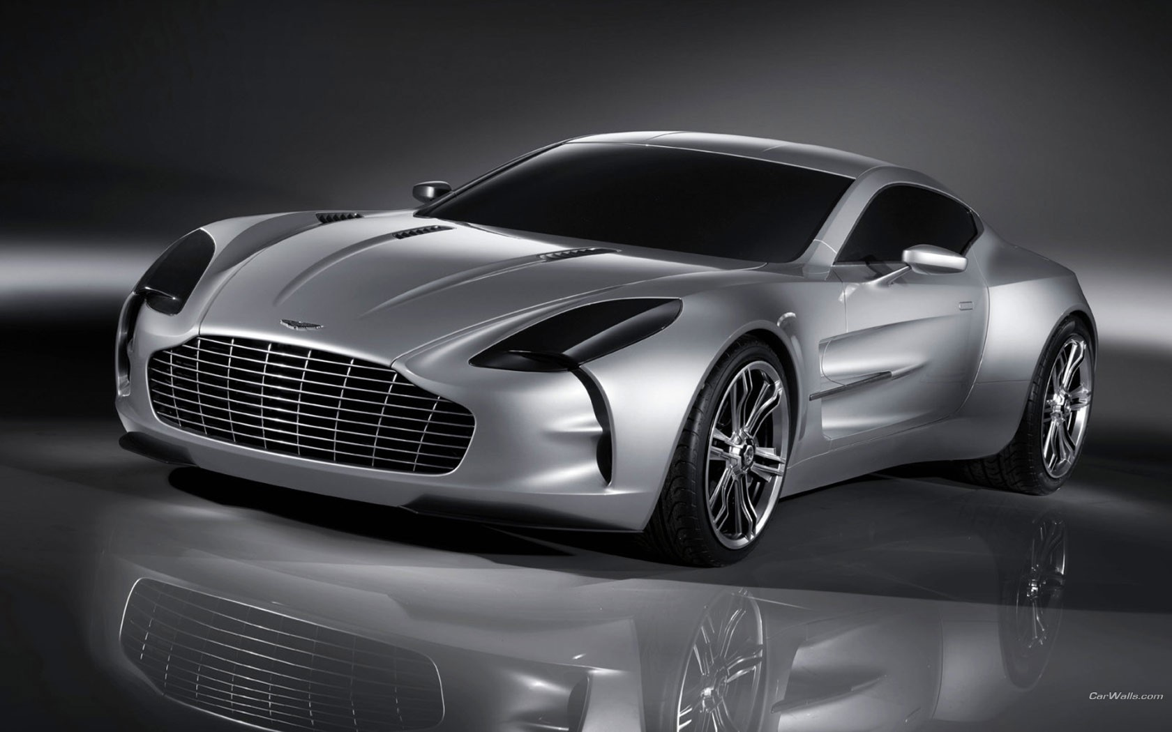 Silver Aston Martin One 77 Front View Wide