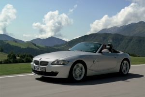Silver BMW Z4 On The Road