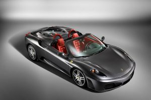 Silver Ferrari F430 Spider Top View