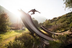 Skateboarding In The Nature Wide