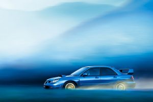 Subaru Impreza In Blue Fog