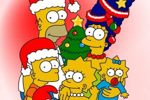 The Simpsons Happy Christmas Evening Postcard
